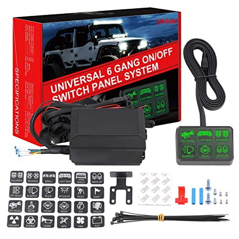 6 Gang Switch Panel DJI 4X4 Electronic Relay System Circuit Control Box Waterproof Universal Fuse Relay Box With Wiring Harness Assemblies Kit For