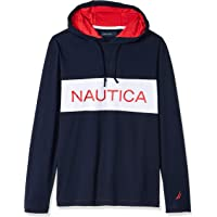 Nautica Men's Long Sleeve Blocked Beach 100% Cotton Pullover Hoodie