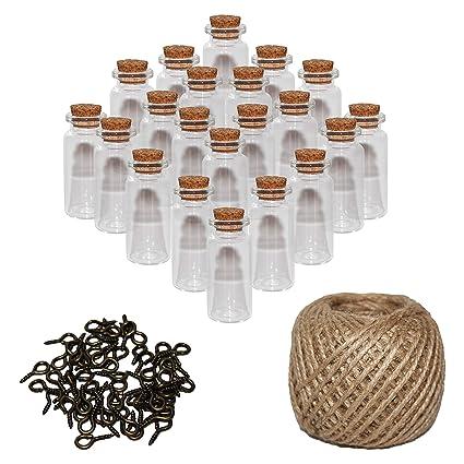 Mini Botellas de Vidrio (60 Piezas) 10ml Viales Miniatura 5cm x 2cm - Set frascos con Tapón de Corcho, 30m de Cordel y Tornillos de Ojo - Decoración ...