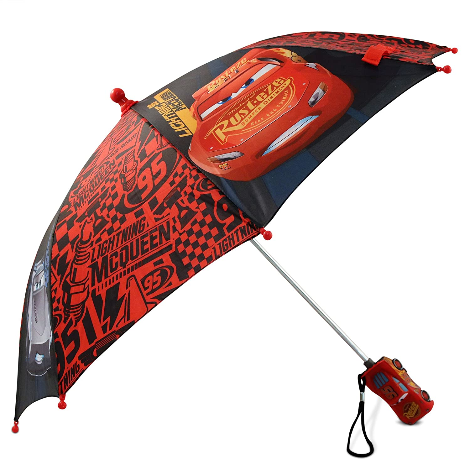Disney Little Boys' Cars Lightning Mcqueen Rainwear Character Umbrella, Red/Black, Age 3-7 DCR72877AZ
