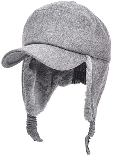 Womens Mens Winter Warm Premium Wool Woolen Peaked Baseball Cap With Faux  Fur Fold Earmuffs Earflap 06f25765369b