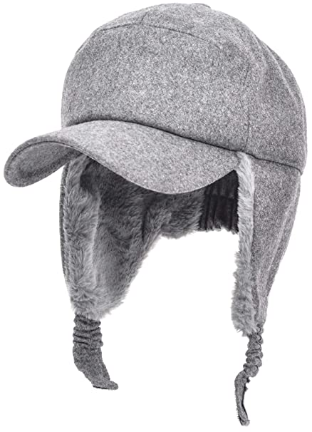 bae1fc698d8 Womens Mens Winter Warm Premium Wool Woolen Peaked Baseball Cap With Faux  Fur Fold Earmuffs Earflap