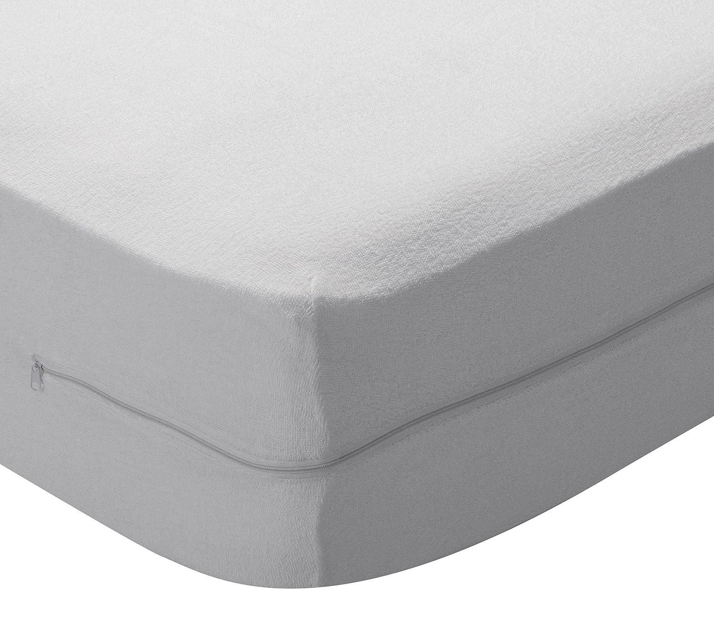 Pikolin Home – Coprimaterasso a sacco in spugna di cotone, con cerniera, 80 x 190/200 cm, Letto da  80 cm. Tutte le misure Prezzi offerte