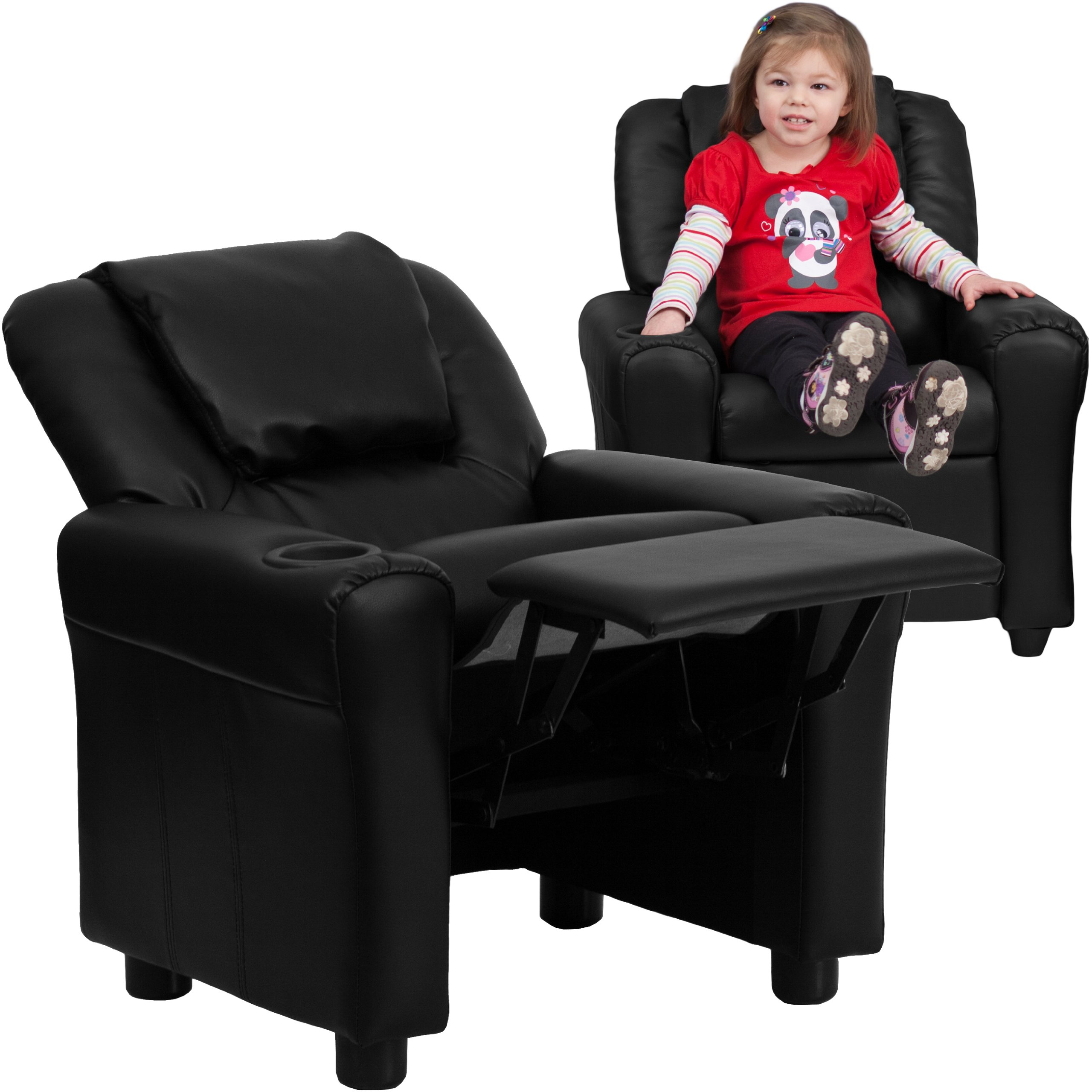 MFO Contemporary Black Leather Kids Recliner with Cup Holder and Headrest