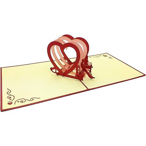 Hochzeitskarte U201eVerliebteu201c Ausgefallene Pop Up 3D Karte Blanko Für  Herzliche Hochzeitssgrüße. Originell Als