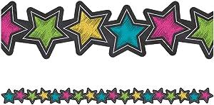Teacher Created Resources (3569) Chalkboard Brights Stars Die-Cut Border Trim