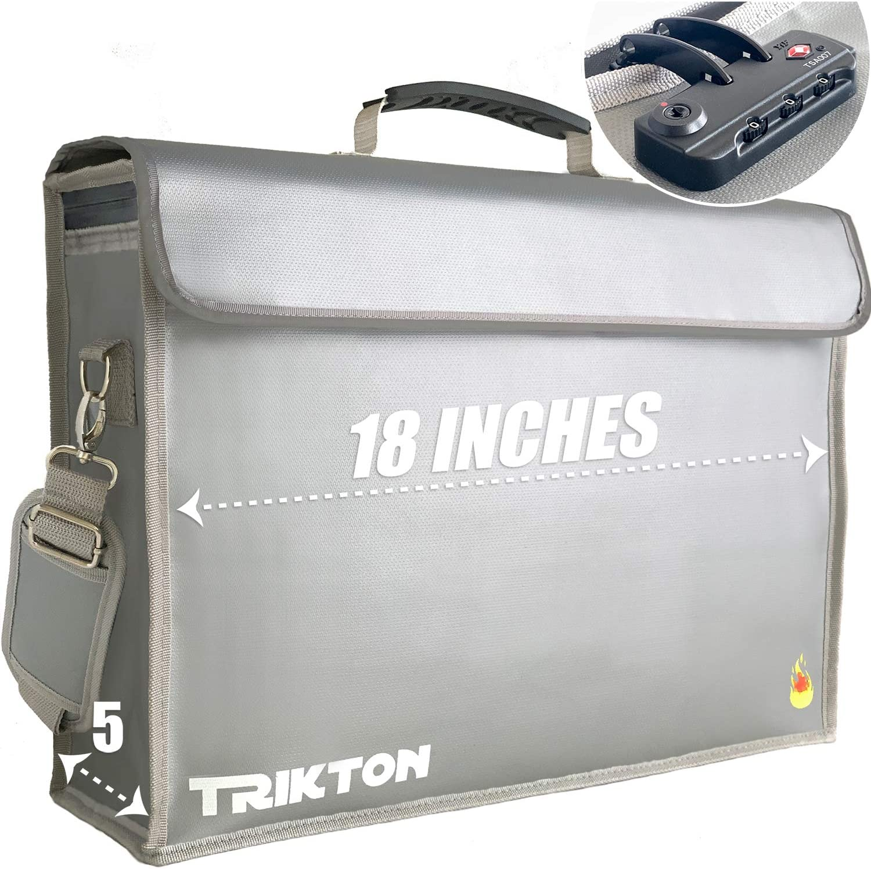 TRIKTON Super Extra Large 18x13x5 Fireproof Safe Bag