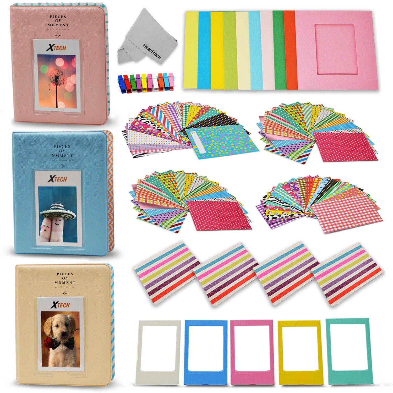 Xtech Accessories kit for Fujifilm Instax Mini 9/8 Includes 120 Colorful Sticker Frames, 3 Mini Photo Albums, Colorful Hanging Frames with Hanging Clips and String, Plastic frames, Corner Frames