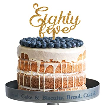 Amazon Eighty Five Happy Birthday Cake Topper Gold Glitter