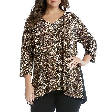 afbe138b4d3 Karen Kane Womens Plus Burnout Animal Print Blouse Multi 0X at Amazon  Women's Clothing store: