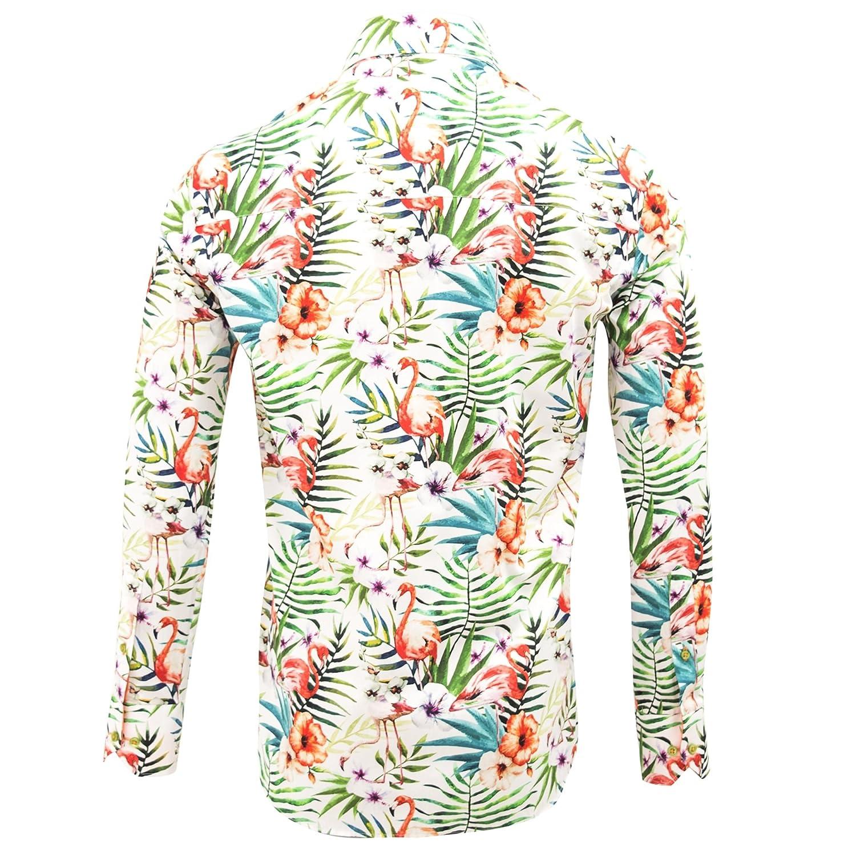 Claudio Lugli Tropical Flamingo Print Mens Shirt