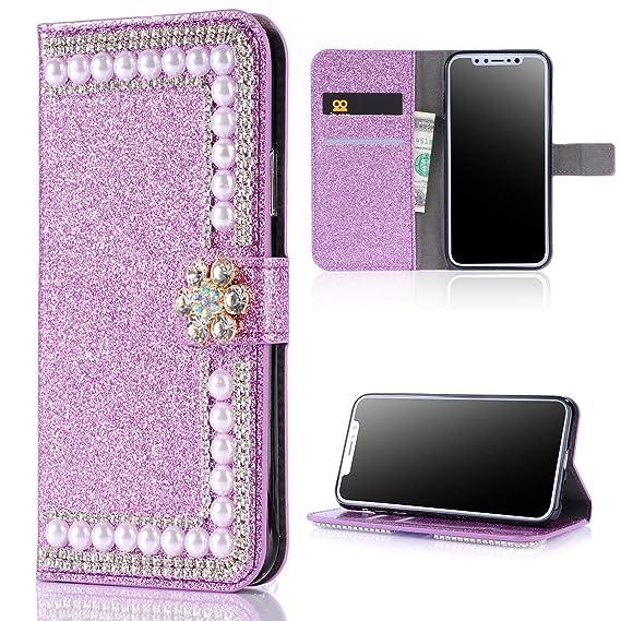 iphone xs glitter flip case