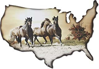 product image for Metal Wall Art - American Flag Theme Wall Decor - Patriotic Running Horse Wall Art on USA Outline - Handmade in the USA for Use Indoors or Outdoors