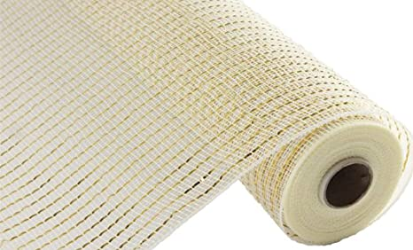 Cream with Gold Foil 10 inch x 30 feet Deco Poly Mesh Ribbon