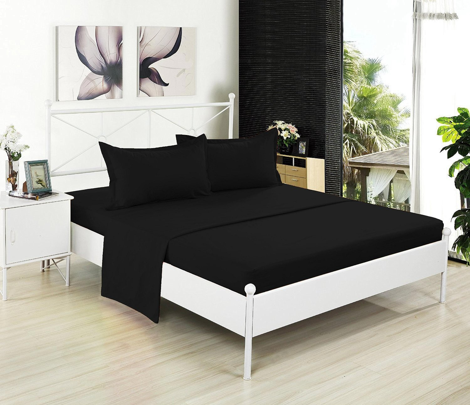 Full Flat Sheet Only - Soft & Comfy 100% Cotton- By Crescent Bedding (Full , Black)