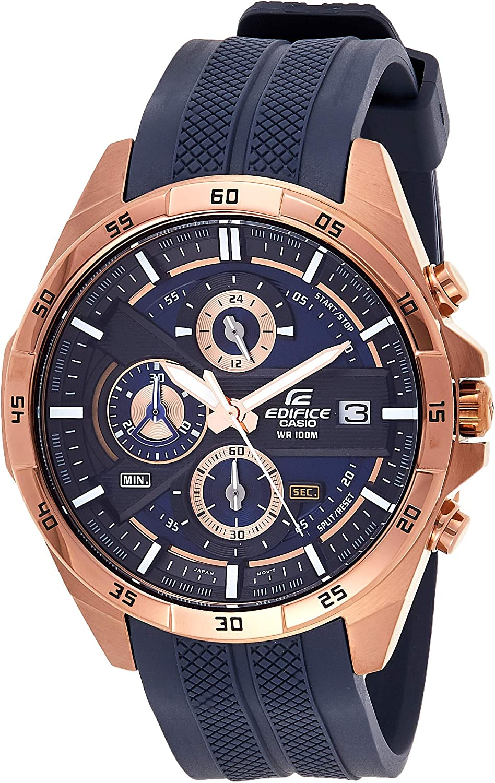 Casio EDIFICE Reloj en caja sólida de acero inoxidable, 10 BAR, Azul/Bronceado, para Hombre, con Correa de Resina, EFR-556PC-2AVUEF