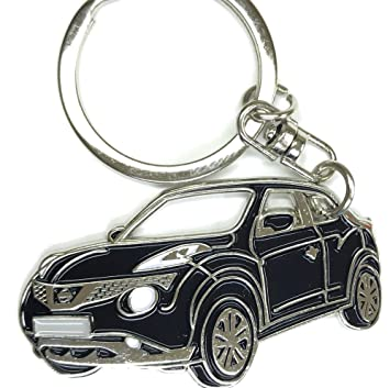Juke Key Chain for car Accessories. Chrome Metal tag, Enamel. Replica. (red)