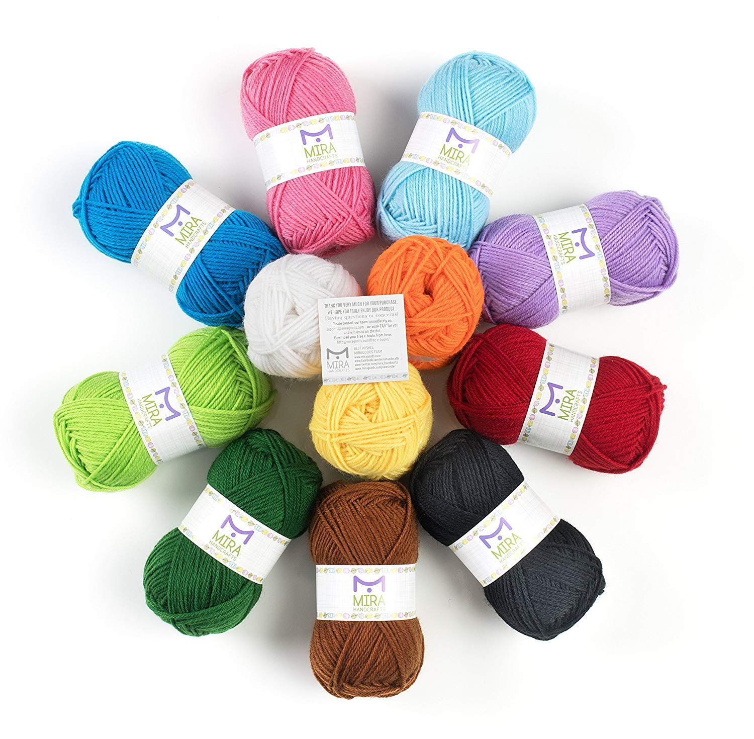 Mira Handcrafts Acrylic 1.76 Ounce(50g) Each Large Yarn Skeins - 12 Multicolor Knitting and Crochet Yarn Bulk - Starter Kit for Colorful Craft - 7 Ebooks with Yarn Patterns by Mira HandCrafts (Image #5)