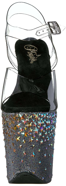 Pleaser Women's Stplash808/C/B Platform Sandal B01ABTDMPY 5 B(M) US Clr/Black/Slv Hologram Stars