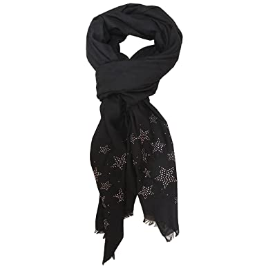 FERETI Écharpe De Printemps Femme Noir D étoile Foulard Étoile Strass  Etoles Châles Argent clouté b35ec1ce747