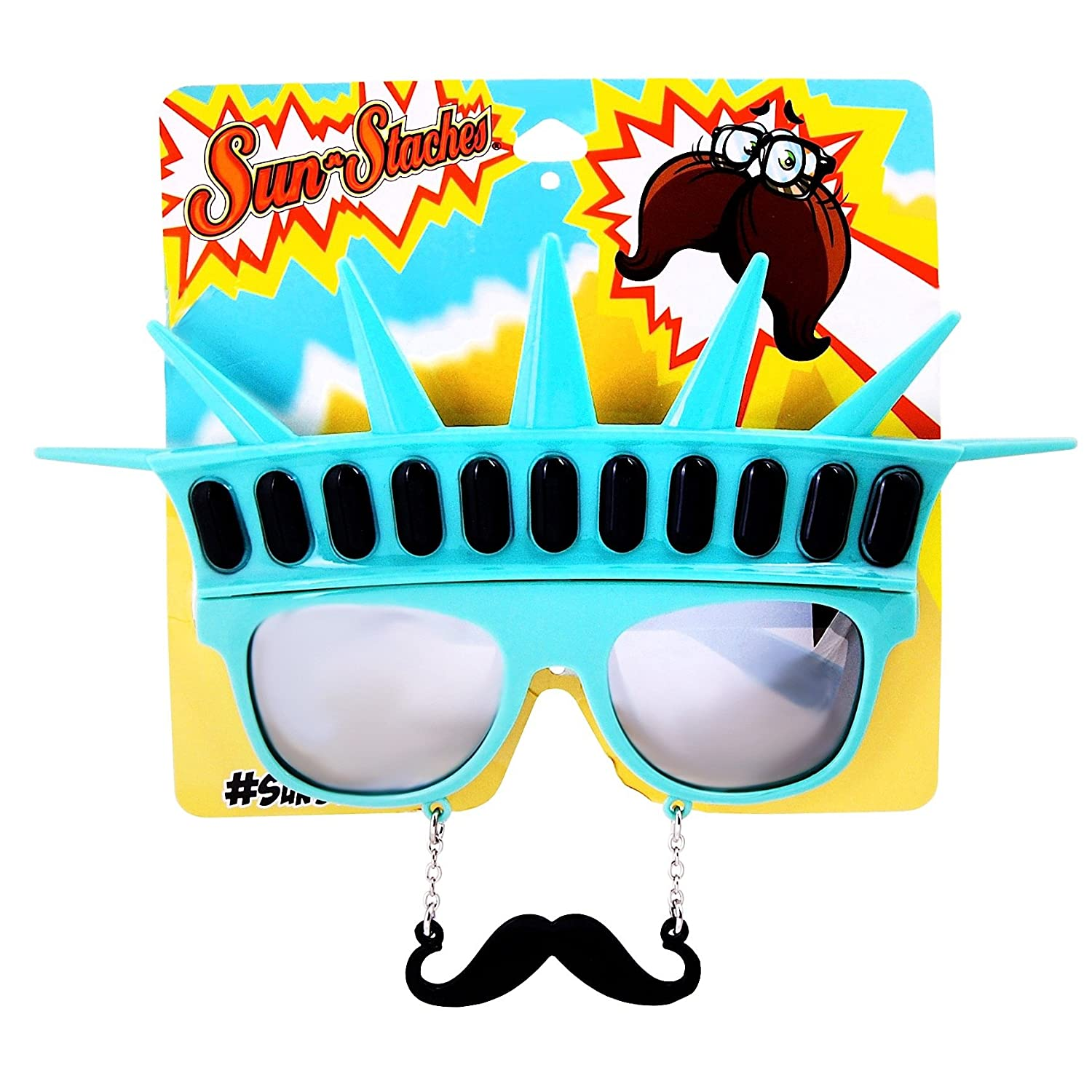 Sunstaches Statue of Liberty with Black Mustache Sunglasses Instant Costume Party Favors UV400