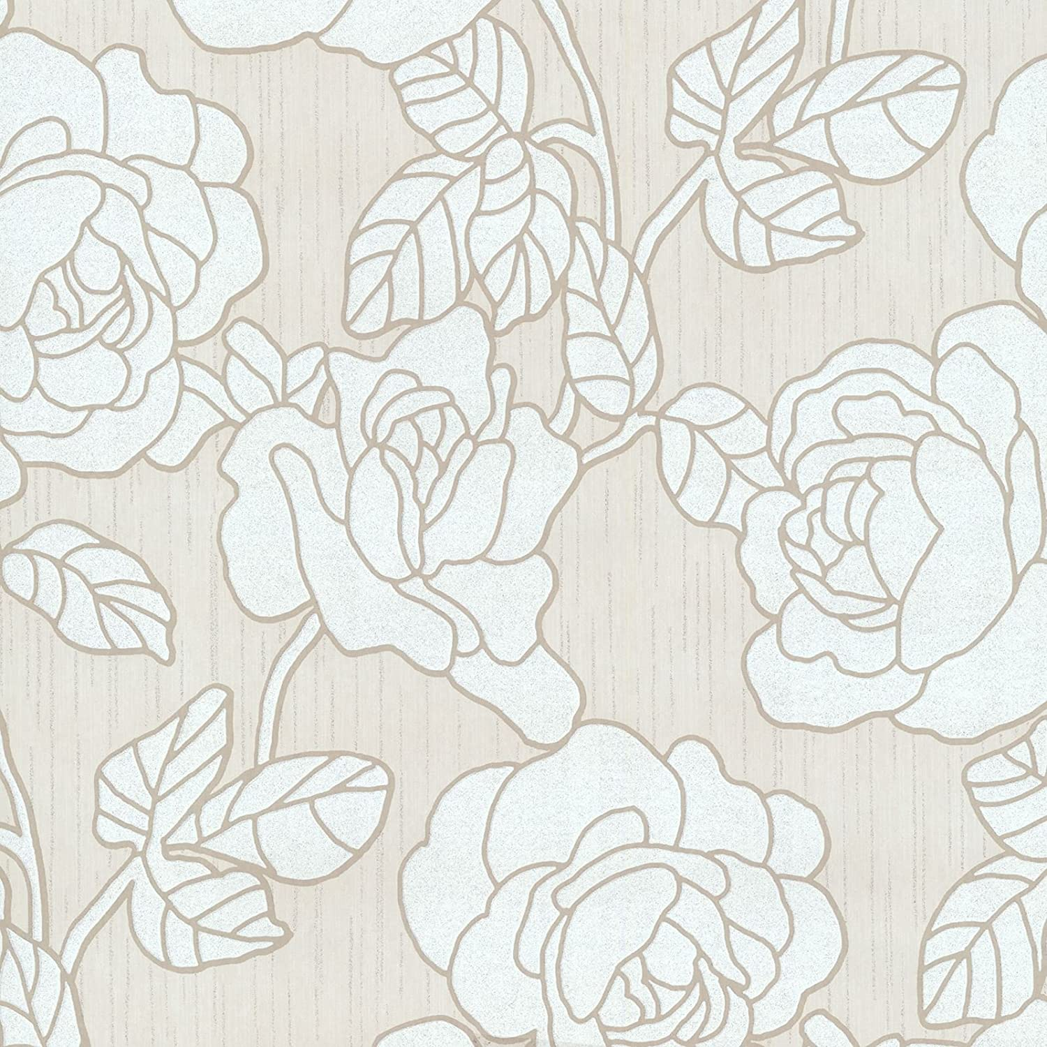 White P S 02492 60 Flowers Opal Floral Glitter Wallpaper Cream Doe