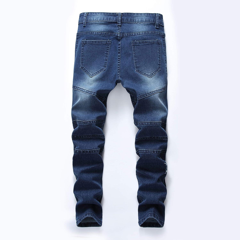 Boys Stylish Moto Biker Skinny Ripped Wrinkled Stretch Fit Denim Jeans
