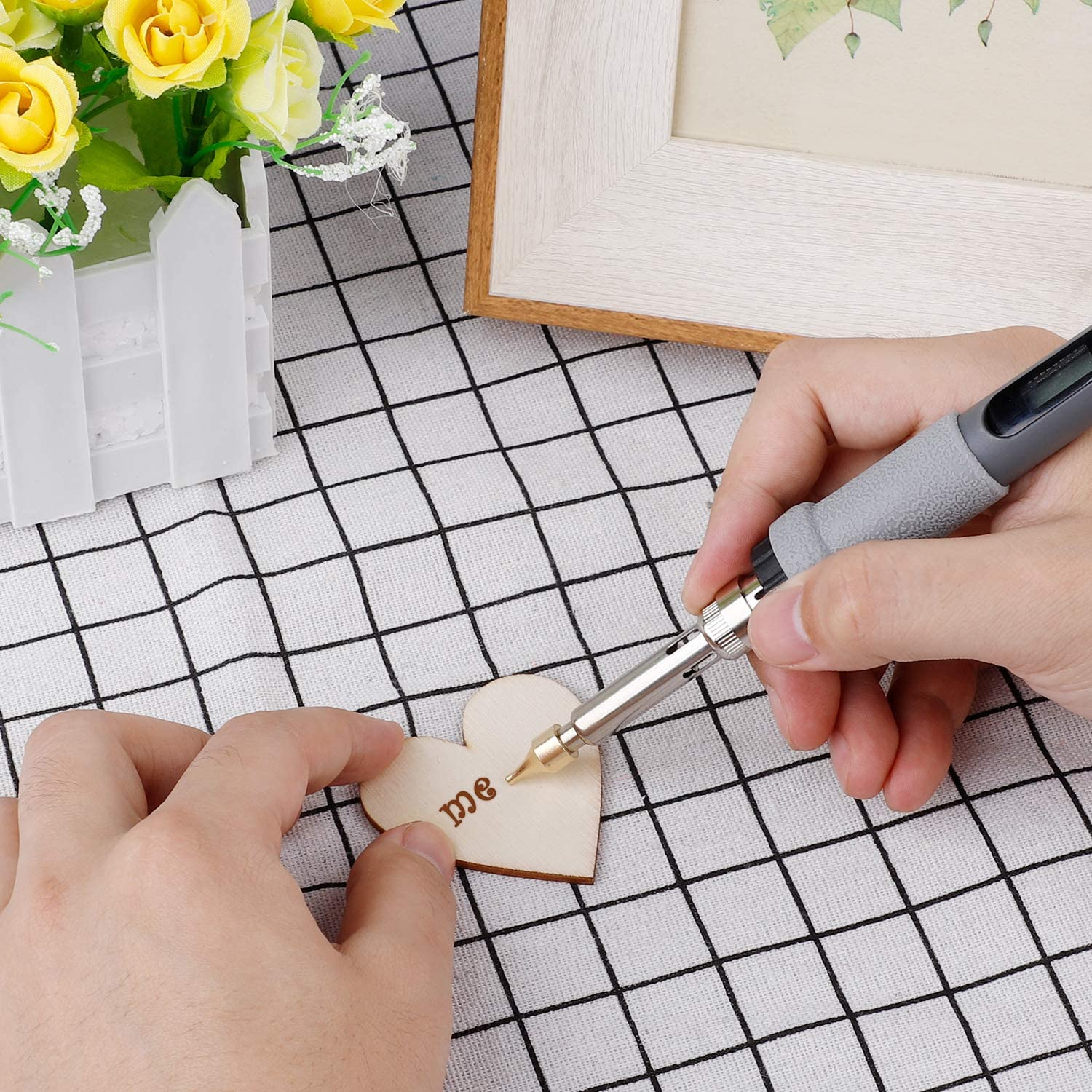 Develoo 28PCS Wood Burning Pen Tips Carving Iron Tip with 10PCS Unfinished Wooden Slices for Painting DIY Crafts Wood Carving and Embossing Wood Craft Tool for Adult Beginner