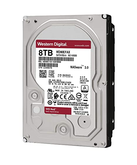 WD Red 8TB NAS Internal Hard Drive - 5400 RPM Class, SATA 6 Gb/s, 256 MB  Cache, 3 5