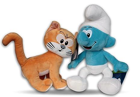 Los Pitufos Pack 2x Peluches Gato Azrael y Pitufo Clasico 30cm Peluche Gato de Gargamel con