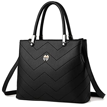 Amazon.com: Minch Women PU Leather Designer Tote Handbags Shoulder ...