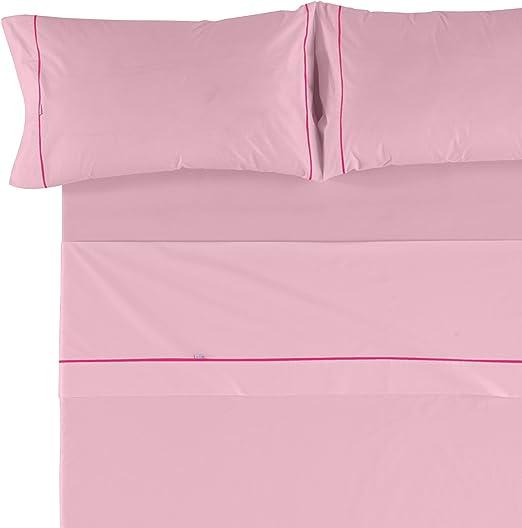 Es-Tela - Juego de sábanas liso con biés, color rosa, cama de 160 ...