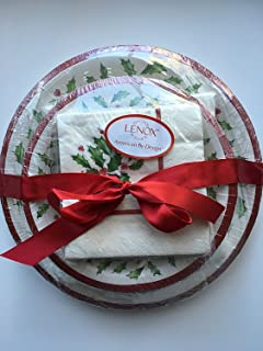 Lenox Holly Disposable Paper Plates and Napkins Gift Set ~ 56 Pieces ~ Service for 8 & Amazon.com: Amscan Merry Little Round Dinner Paper Plates Christmas ...