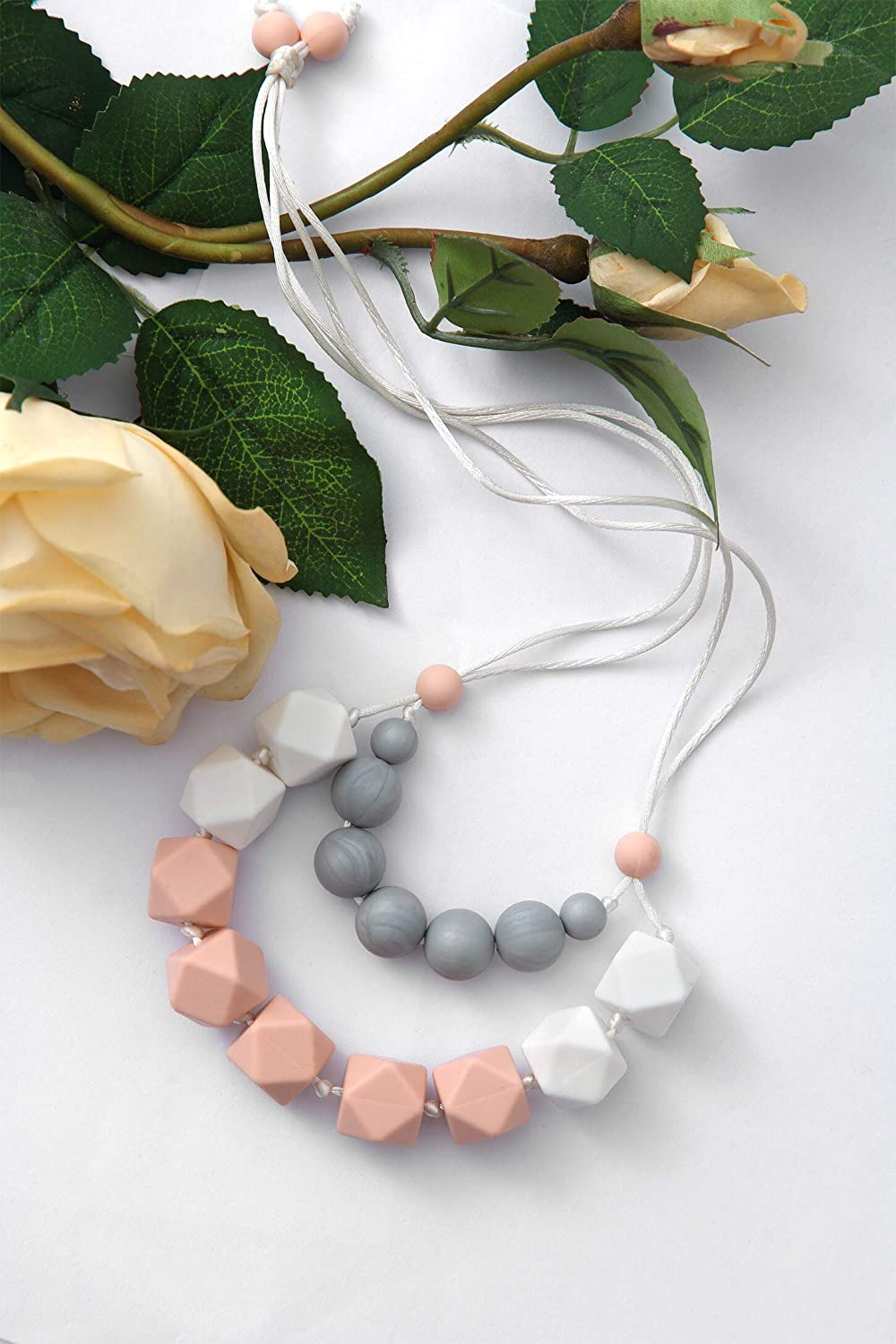 Instant Pacifier Shenzhen Yuan Feng Baby Silicone Products Company Limited 100/% BPA Free Silicone Beads Teething and Drooling Relief Pink, White, Gray Chewlery MINIme Long Teething Necklace