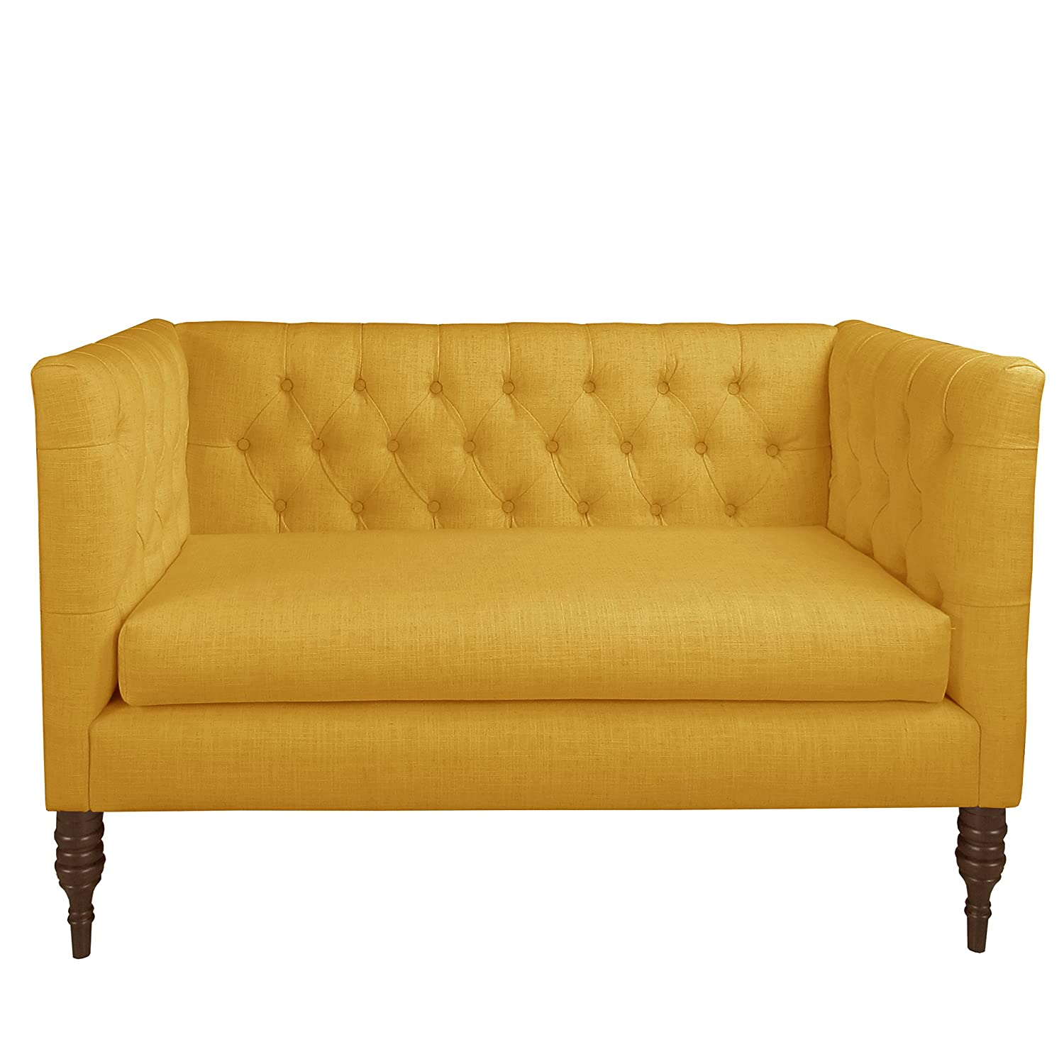 Amazon com skyline furniture tufted settee in linen french yellow yellow kitchen dining