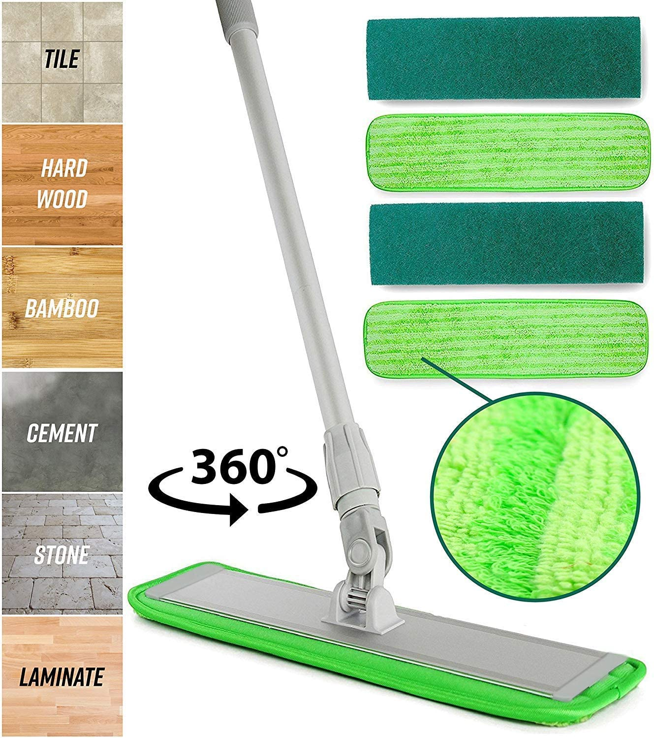 Professional Microfiber mop for Hardwood Tile Laminate & Stone Floors Dredge