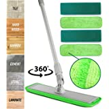Microfiber Mop Floor Cleaning System - Washable Pads Perfect Cleaner for Hardwood, Laminate & Tile - 360 Dry Wet Reusable Dus