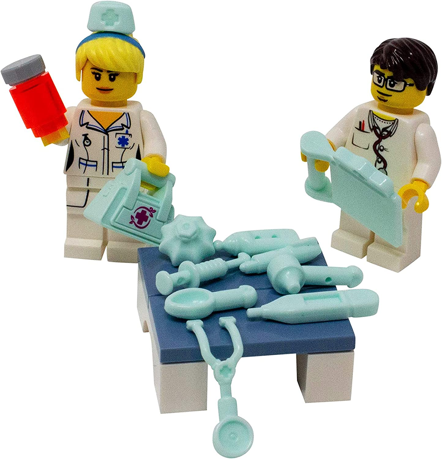 LEGO Doctor and Nurse with Medical Instruments and Bag - Custom Medicine MD, DO, RN Minifigure