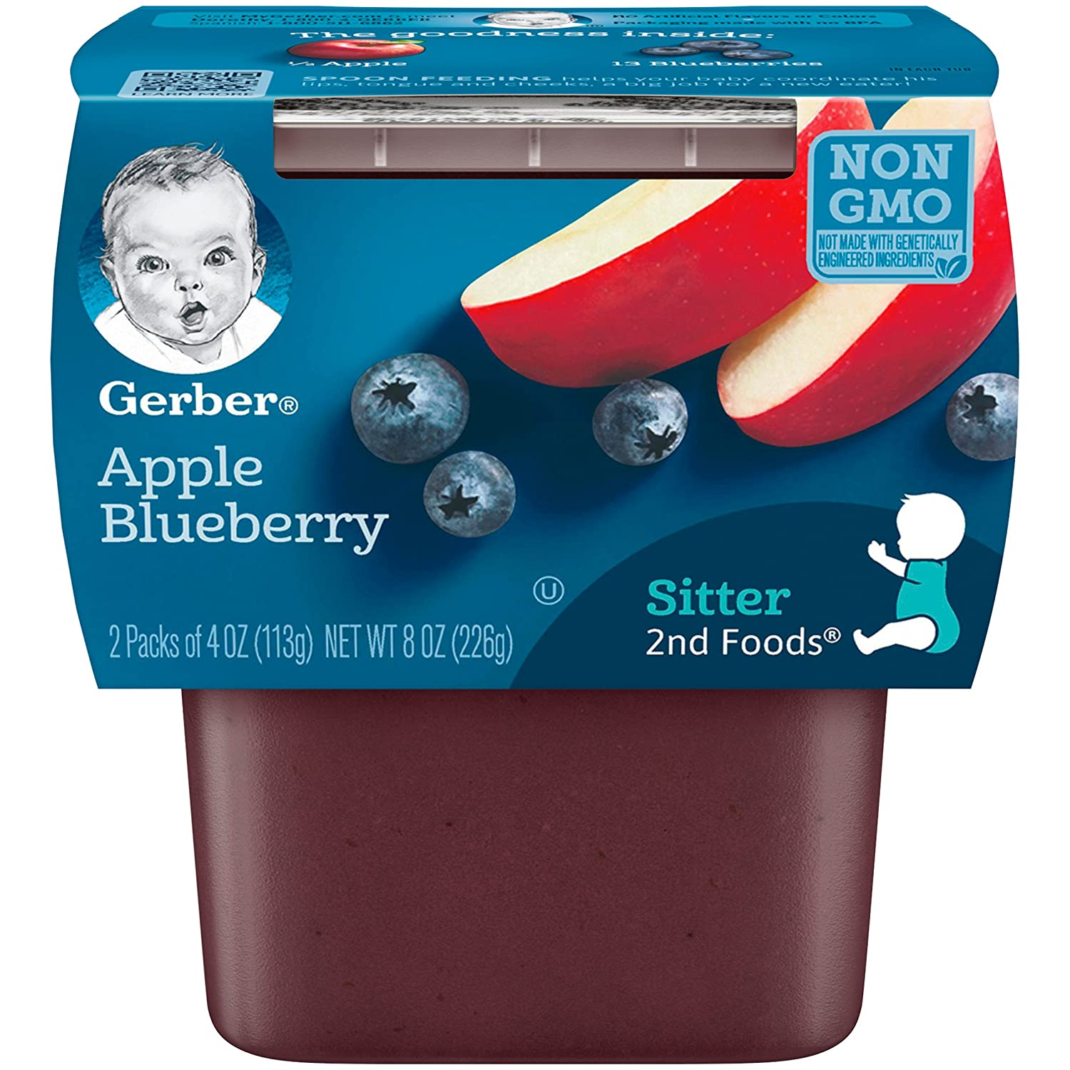 Gerber 2nd Foods Apple Blueberry, 4 Ounce Tubs, 2 Count (Pack of 8)