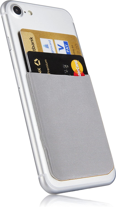 MyGadget Bolsillo Adhesivo para Funda Móvil - Portatarjetas de Crédito con Bloqueo RFID - Smartphone Card Holder - Estuche Porta Tarjetas - Gris