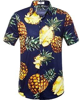 0d0d13de78 SIR7 Men s Hawaiian Flower Print Casual Button Down Short Sleeve Shirt