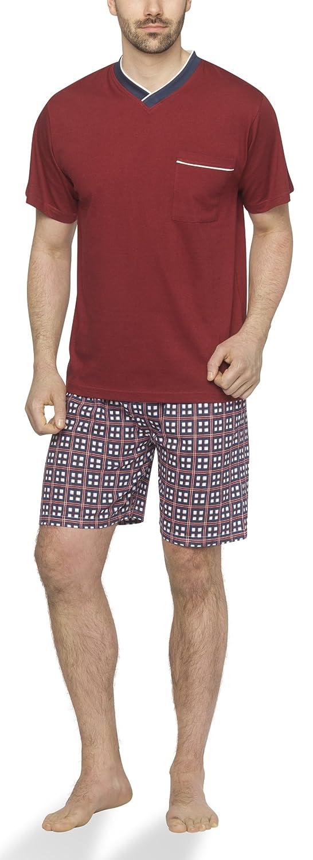 Moonline - Pijama corto de hombre con pantalones de cuadros