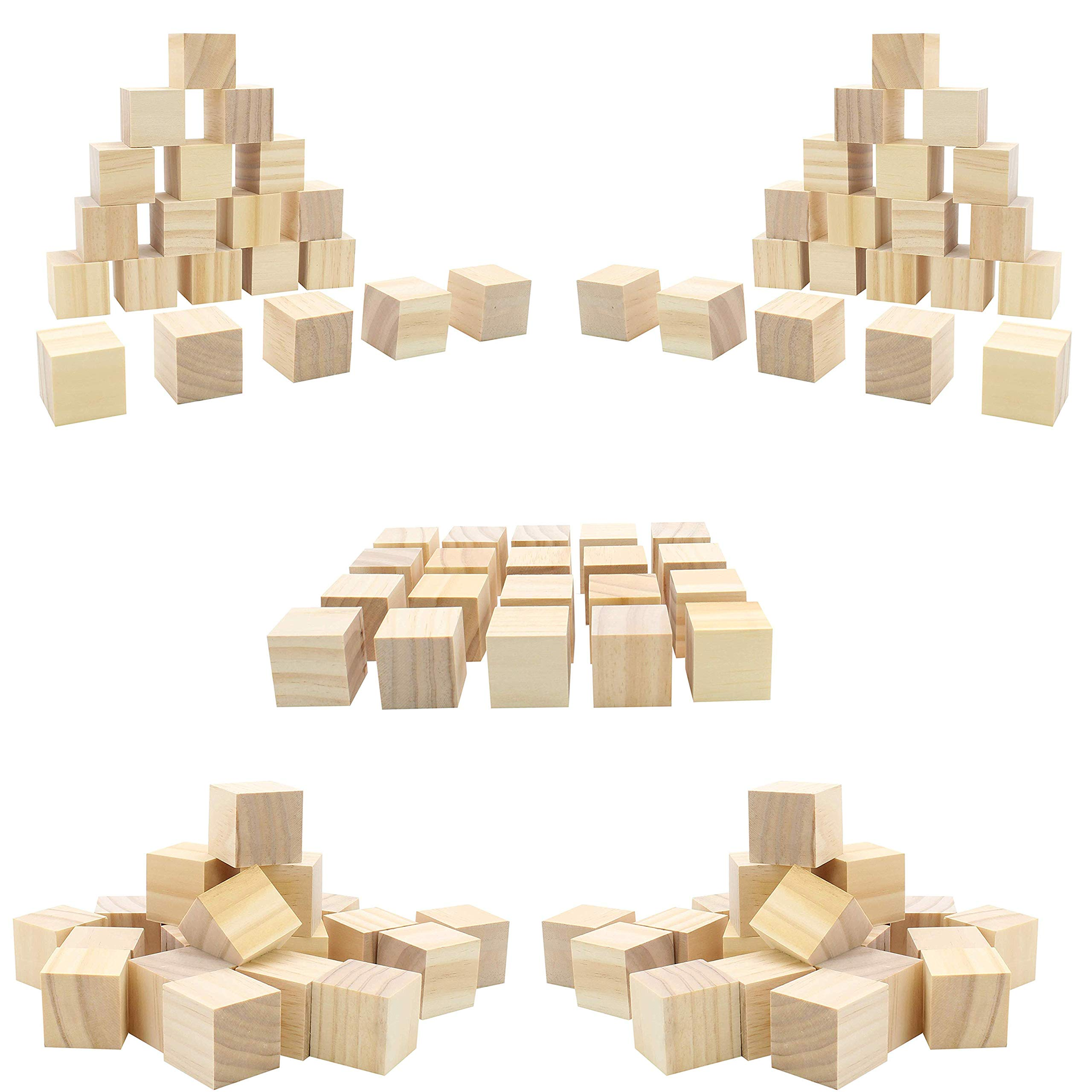 (50pc) Blank Real Wood Natural Alphabet Blocks for Crafts Painting Wood Burning Engraving Weddings Parties Unfinished and Unpainted Wooden 1.5'' x 1.5'' Cubes