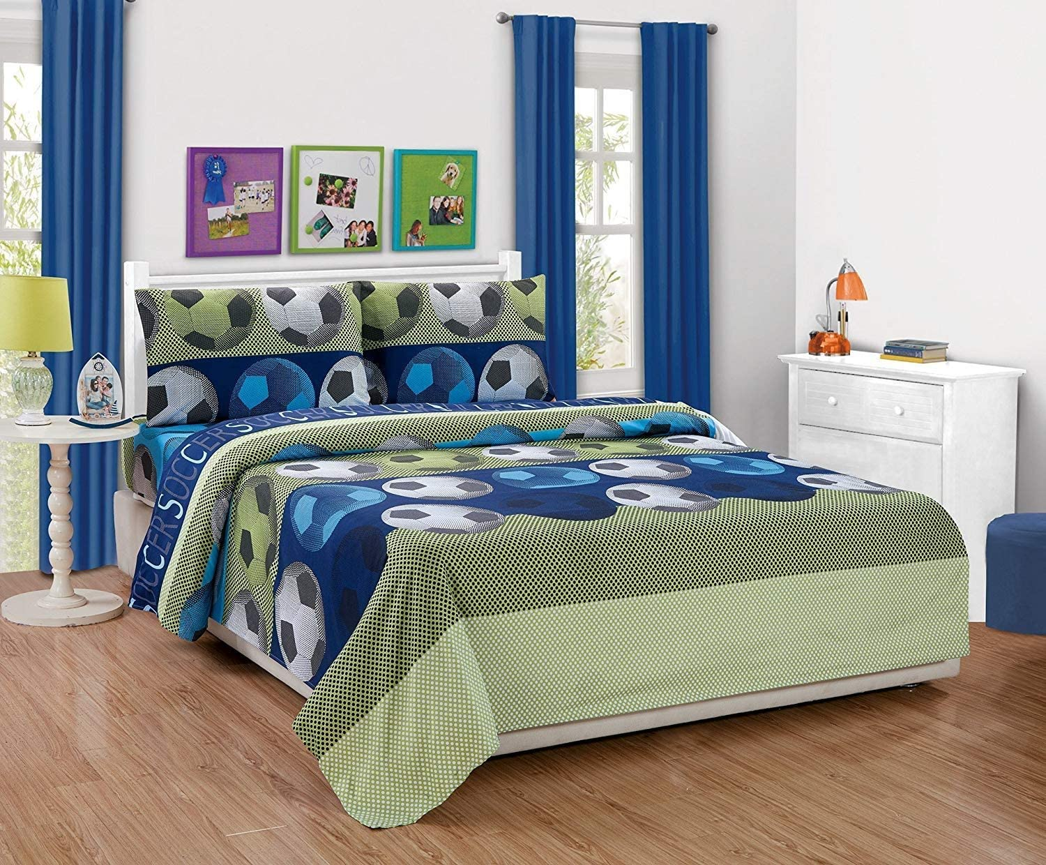 Elegant Home Blue Green White Black Soccer Balls Design 3 Piece Printed Sheet Set with Pillowcases Flat Fitted Sheet for Boys/Kids(Soccer Ball, Twin)