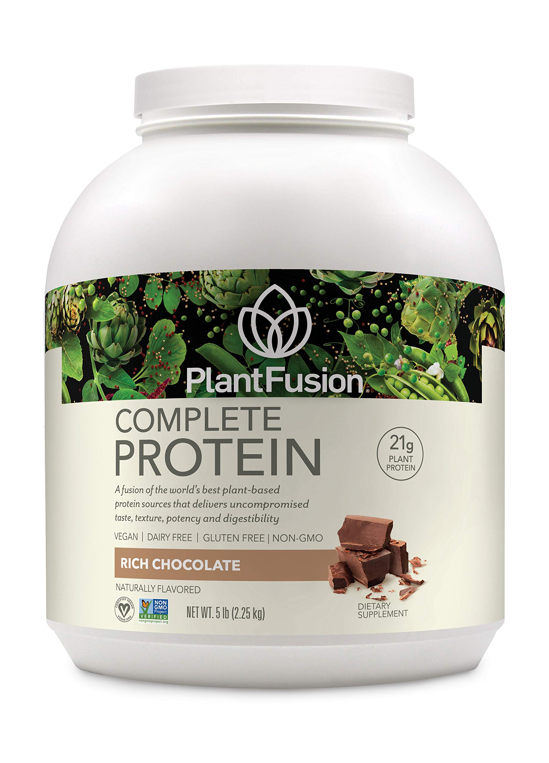 PlantFusion Complete Plant-Based Protein Powder, Gluten Free, Vegan, Non-GMO, Packing May Vary, Chocolate, 5 Pound