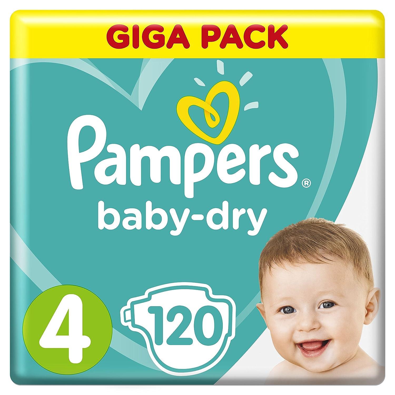 Pampers Baby-Dry Windeln Größe4 (9-14kg), Luftkanäle für atmungsaktive Trockenheit die ganze Nacht, Giga Pack, 1er Pack (1 x 120 Stück) Procter & Gamble 4015400833871