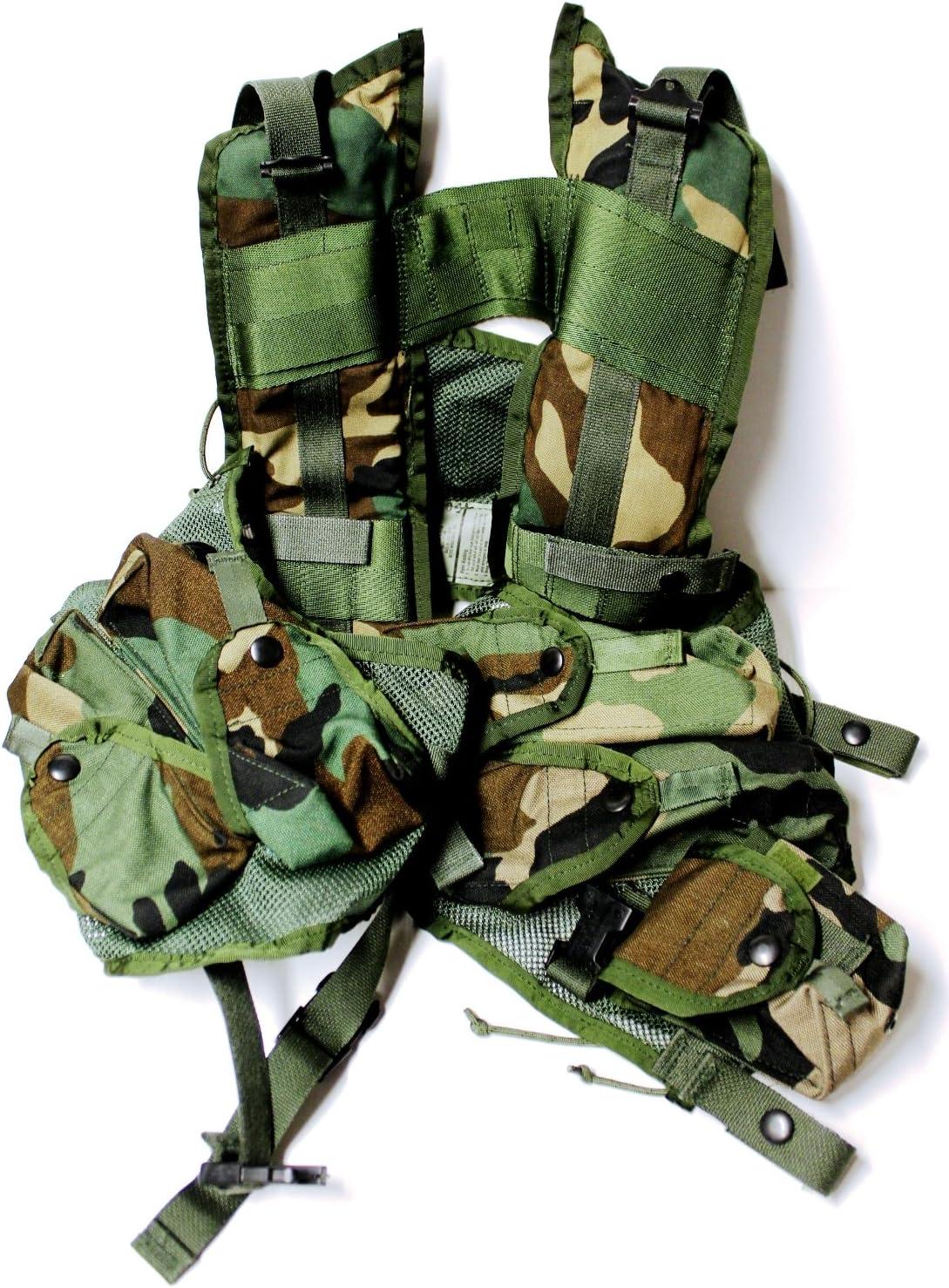 US Military Tactical LOAD BEARING VEST LBV Woodland Camo Vietnam Era NICE