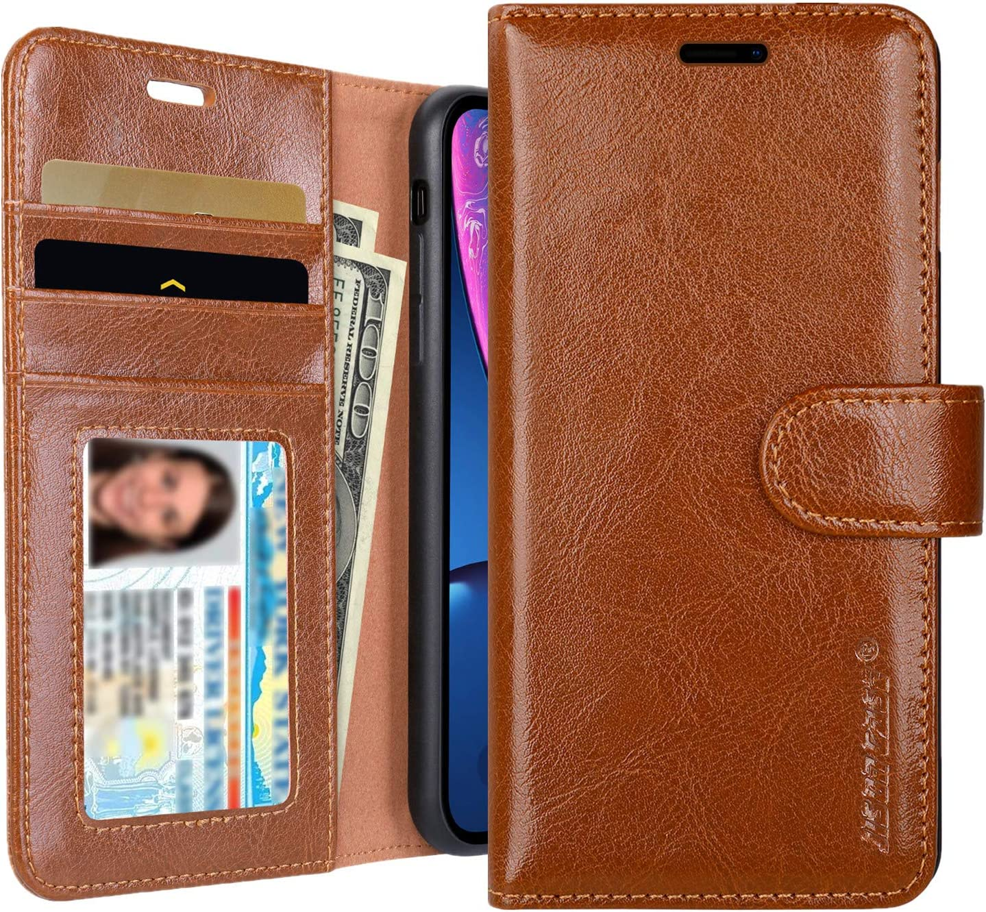 JISONCASE iPhone XR Wallet Case, Leather iPhone Xr Cases with Credit Card Holder Slot Magnetic Closure Shockproof Protective Flip Case for Apple iPhone XR 6.1 inch Brown