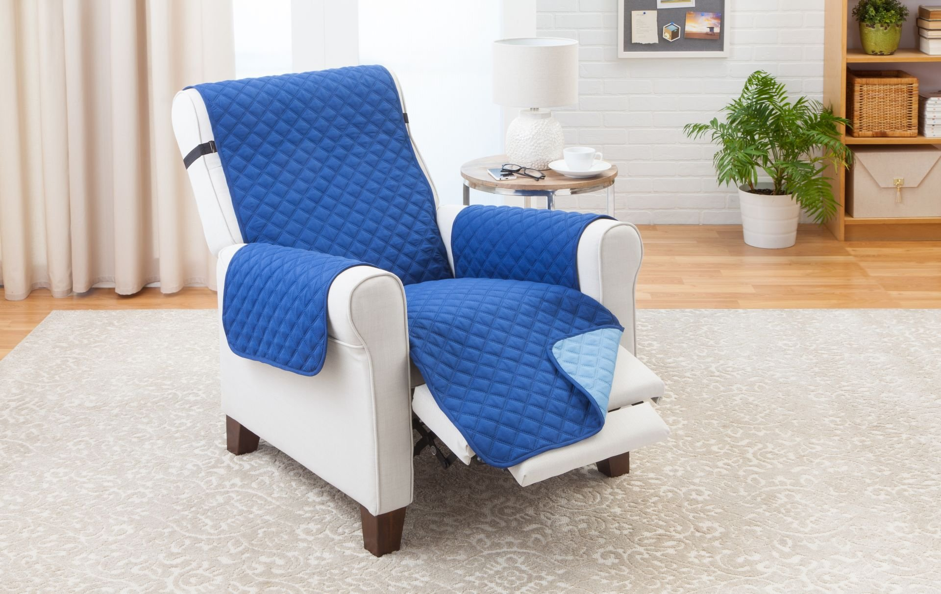 Deluxe Reversible RECLINER Furniture Protector, Blue / Light Blue 80''x 70'' by Elaine Karen