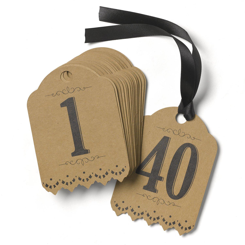 Hortense B. Hewitt Wedding Accessories Vintage Kraft Table Tags, Numbers 1 to 40 31695
